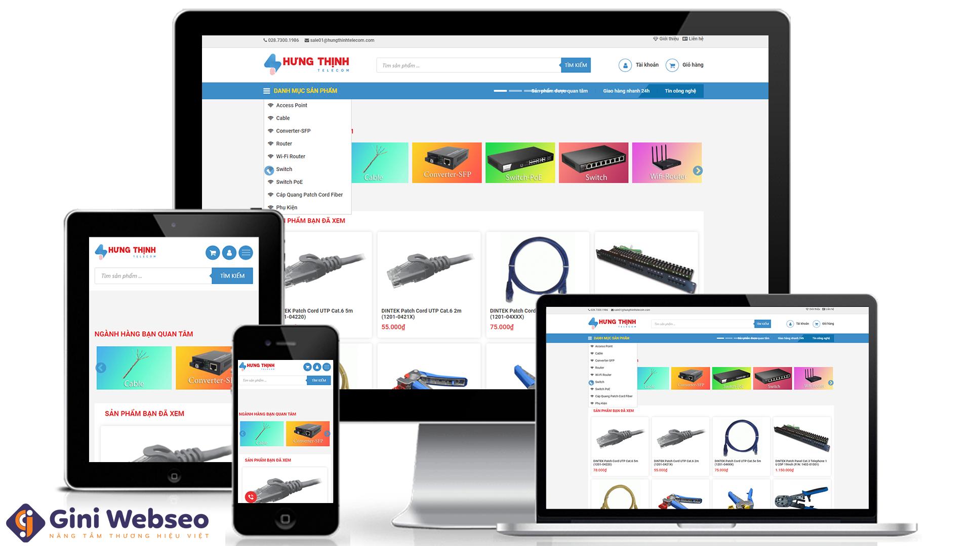 Thiết kế website thiết bị mạng Hưng Thịnh Telecom