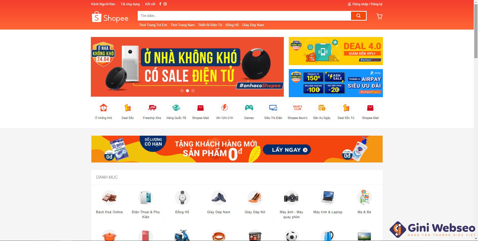 Giao diện của thiết kế website bán hàng Hải Phòng