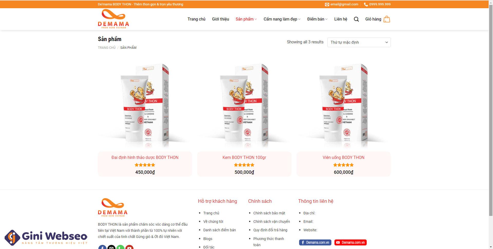 Thiết kế website sản phẩm chức năng Demama