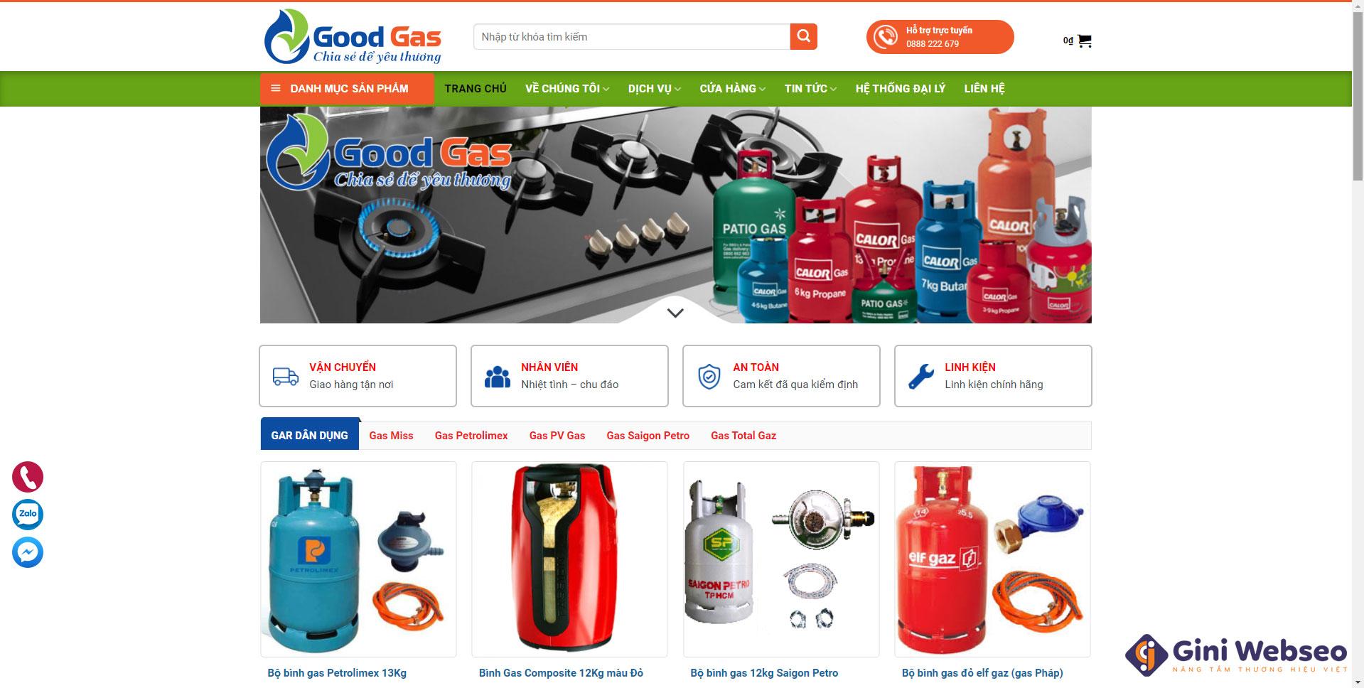 Giao diện trang chủ thiết kế website bán gas Hải Phòng