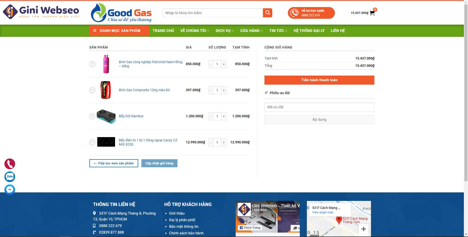 Giao diện giỏ hàng thiết kế website bán gas Hải Phòng