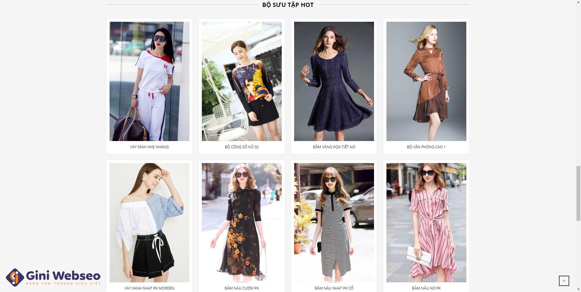 Giao diện sản phẩm thiết kế website thời trang Hải Phòng