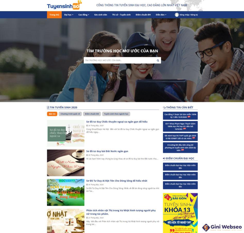 Thiết kế website tuyển sinh Tuyển sinh số