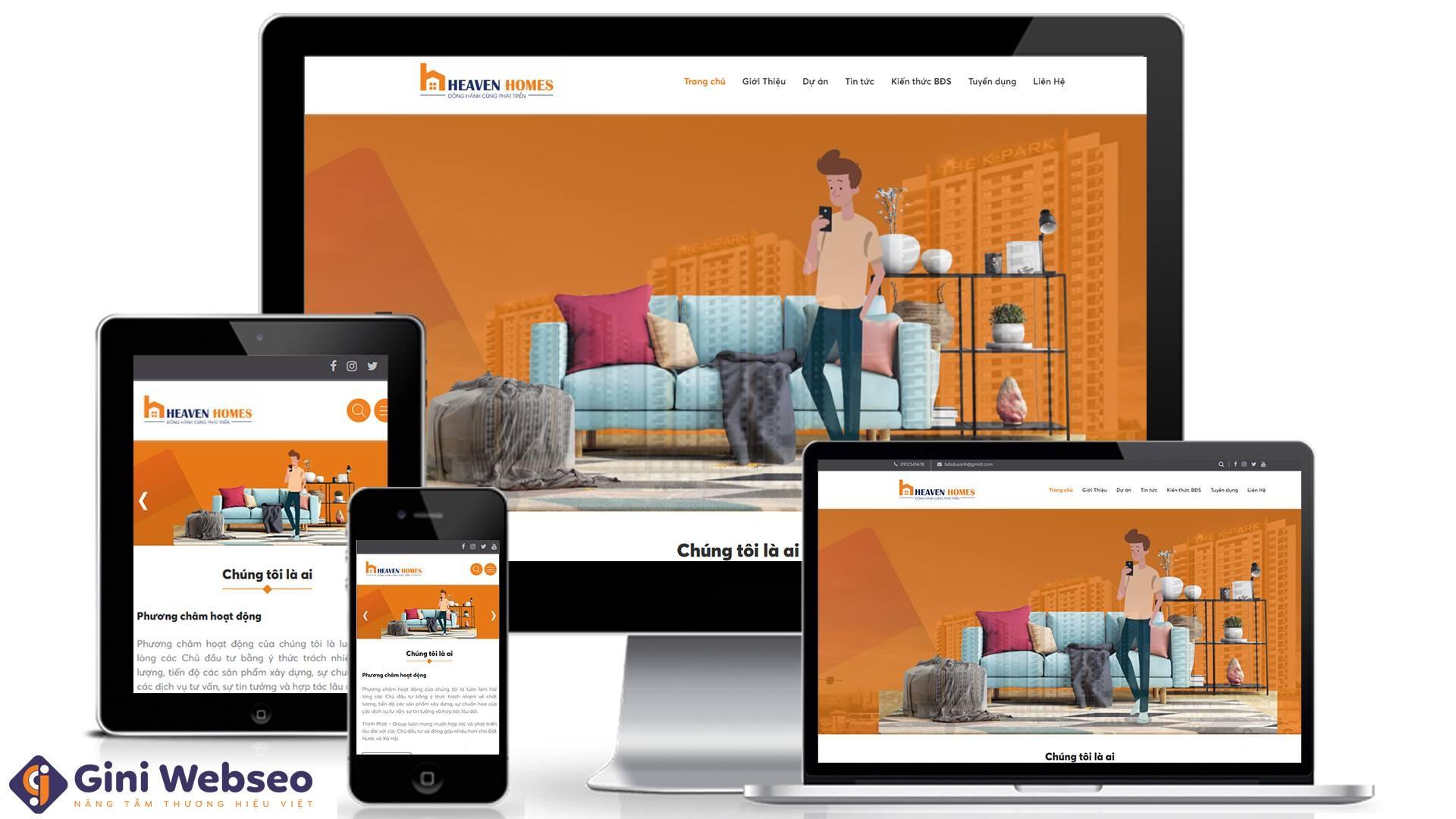 Thiết kế website công ty bất động sản Heaven Homes