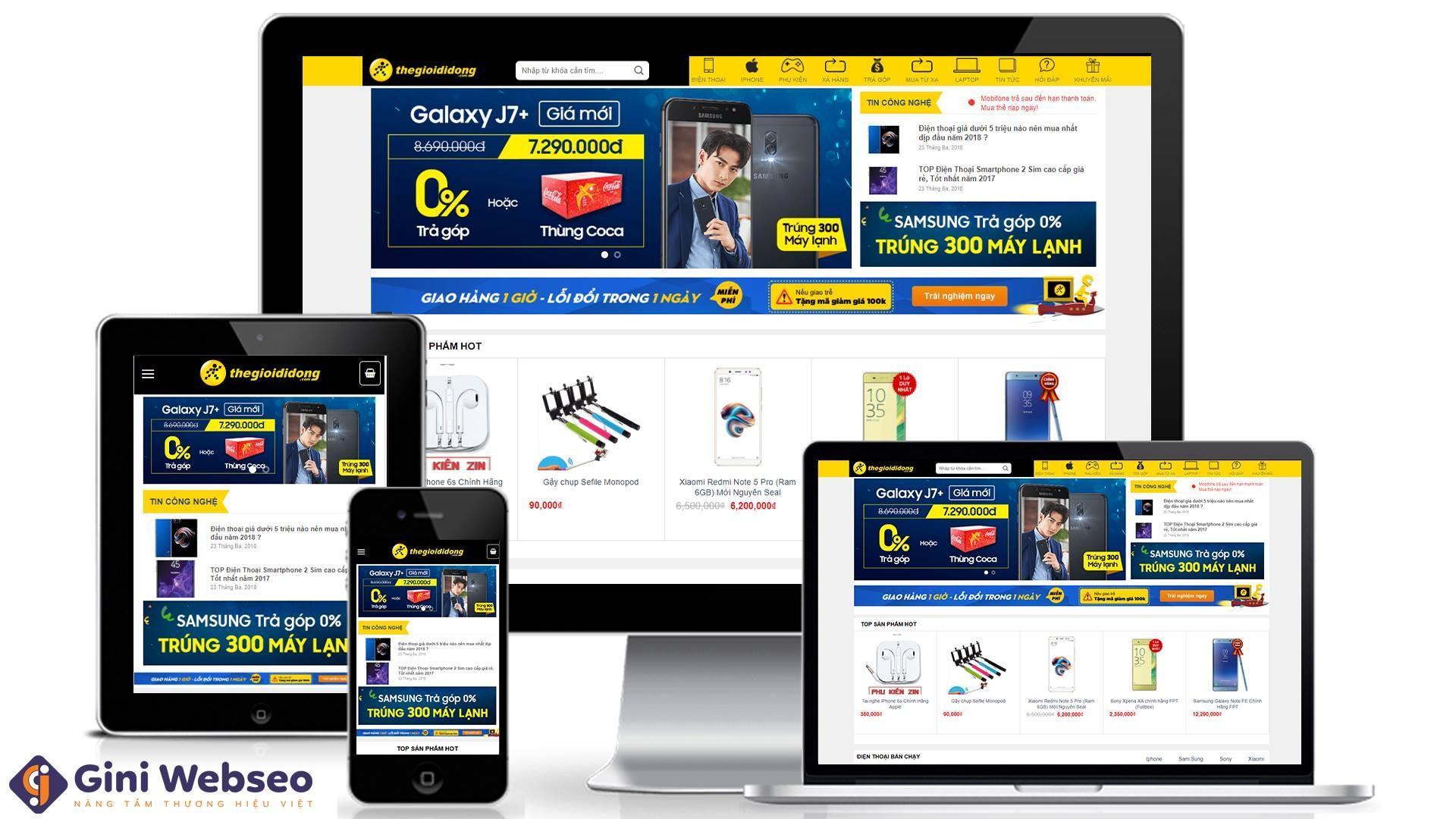 Thiết kế website điện thoại Thế giới di động