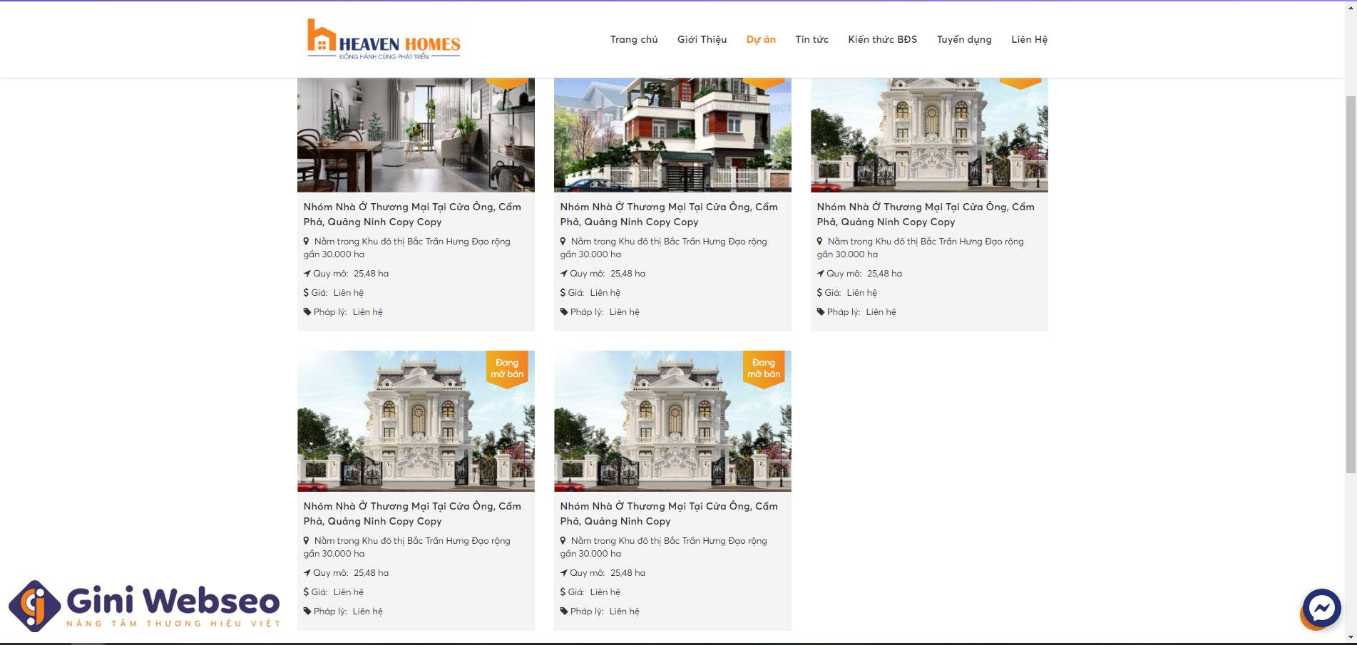 Giao diện dự án thiết kế website công ty bất động sản