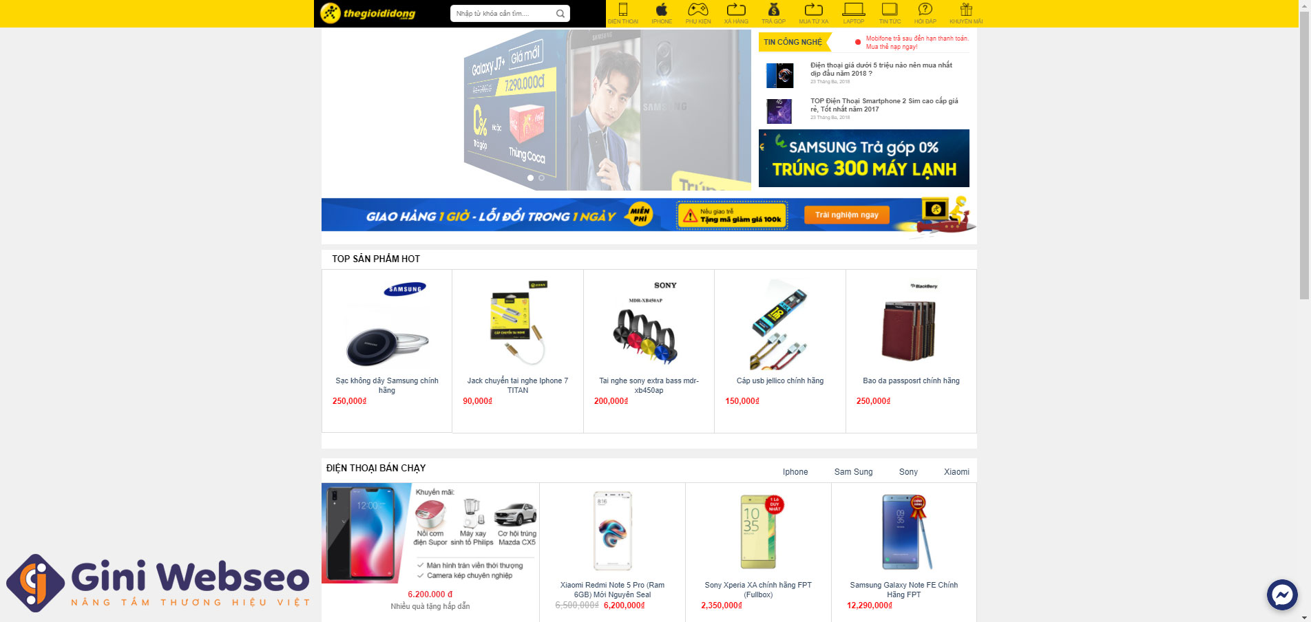 Giao diện trang chủ thiết kế website di dộng