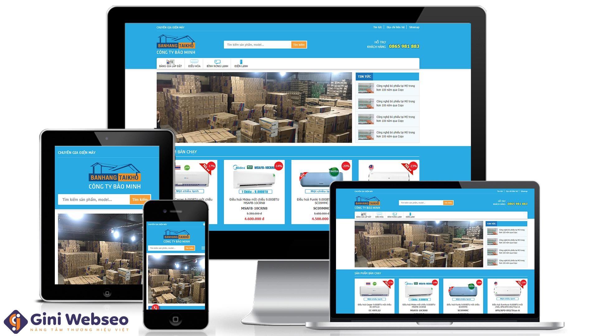 Thiết kế website điện lạnh Bán Hàng Tại Kho
