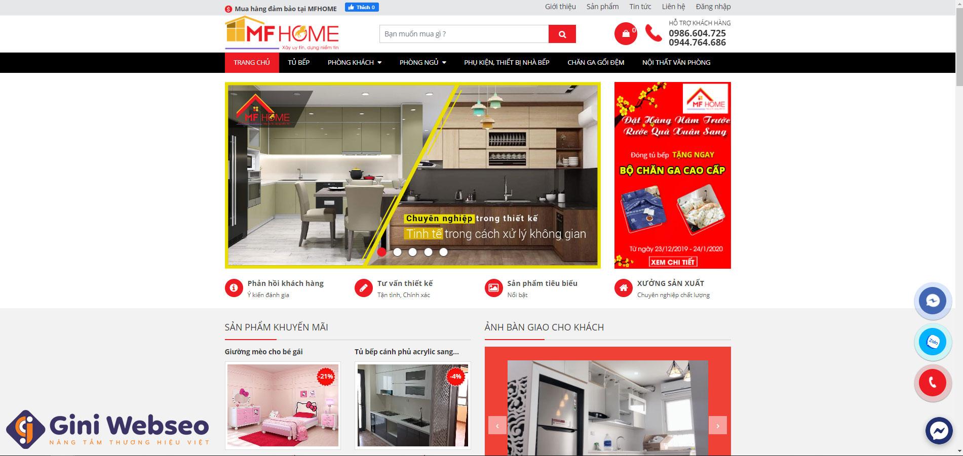 Giao diện trang chủ thiết kế website nội thất