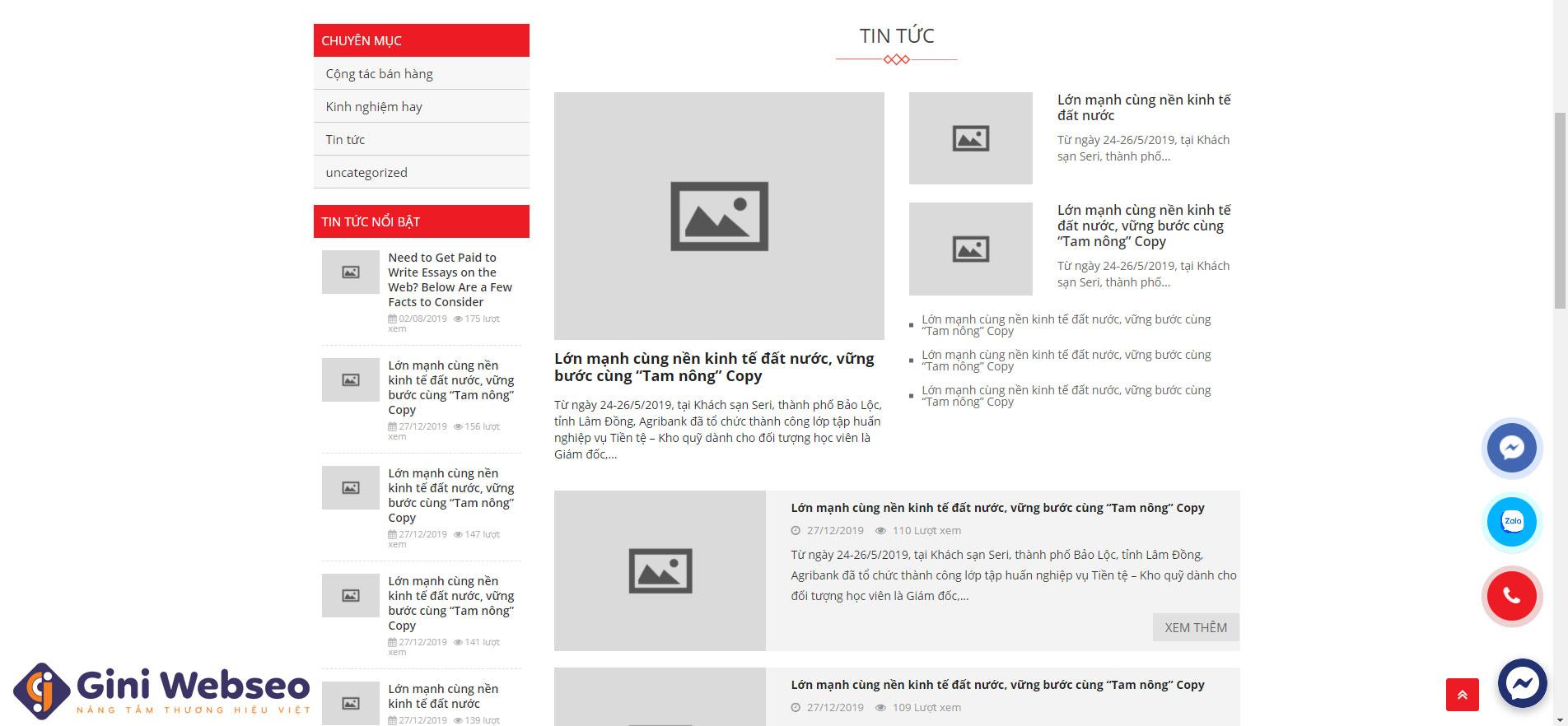 Giao diện tin tức thiết kế website nội thất