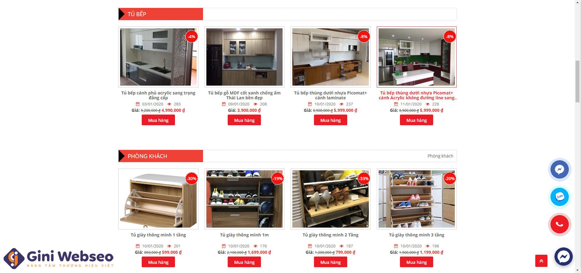 Giao diện sản phẩm thiết kế website nội thất