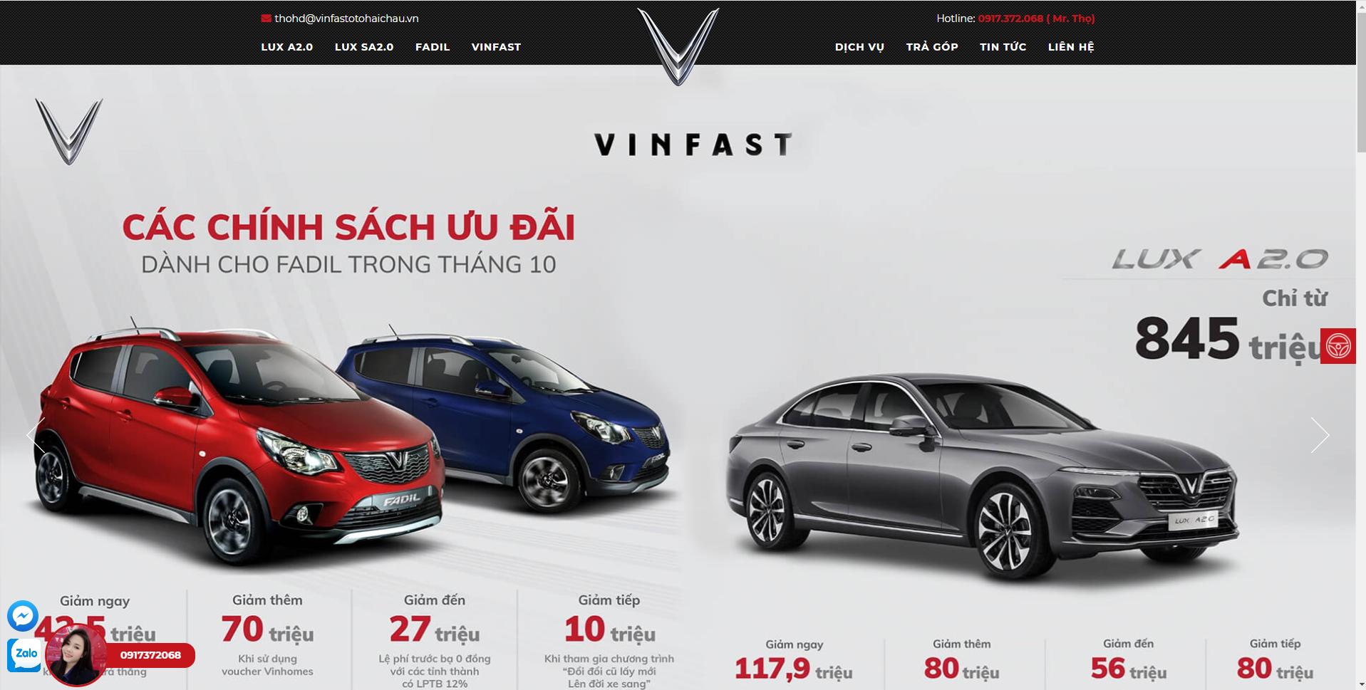 Thiết kế website ô tô VinFast