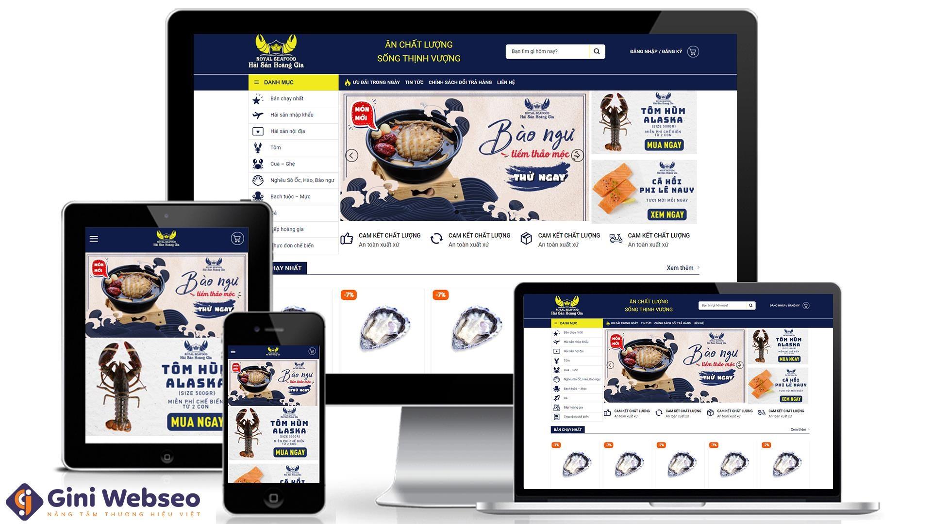Thiết kế website hải sản Hải Sản Hoàng Gia