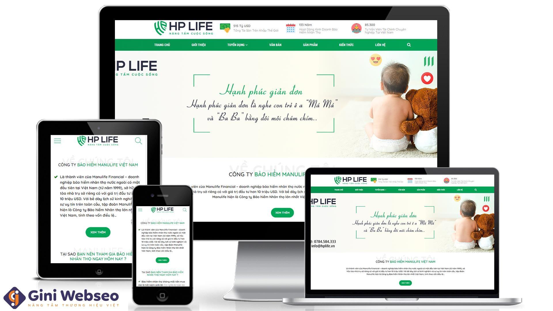 Thiết kế website bảo hiểm nhân thọ Manulife