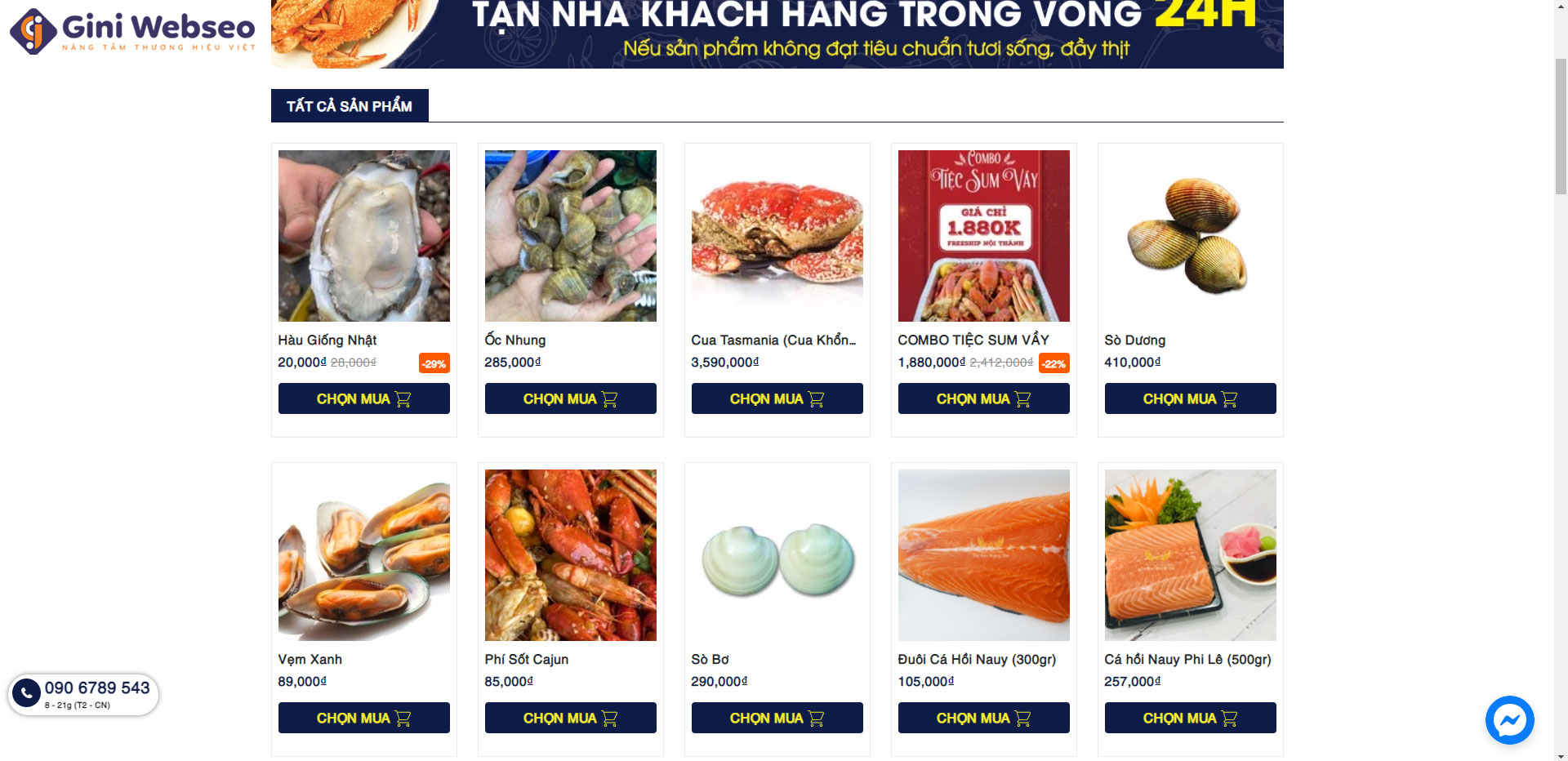 Giao diện sản phẩm thiết kế website hải sản