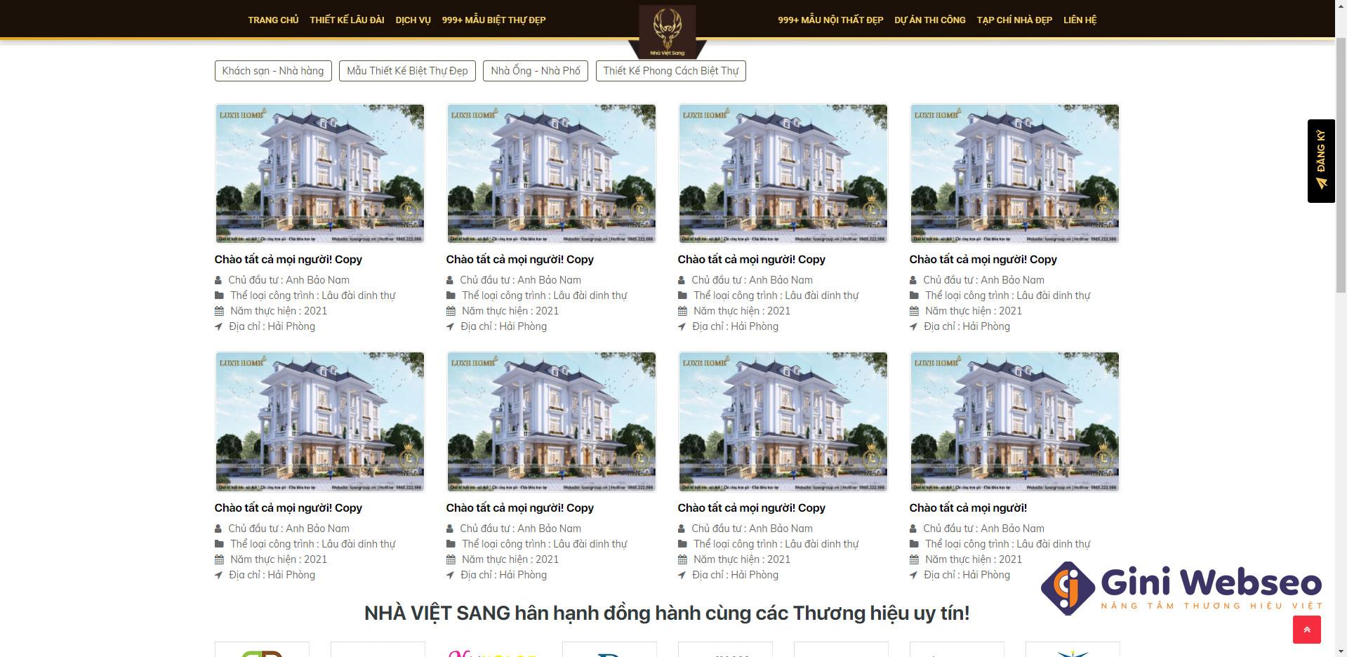 Giao diện dự án thiết kế website bất động sản