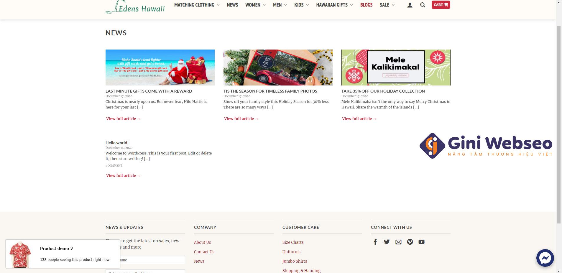 Thiết kế website thời trang Hilohattie