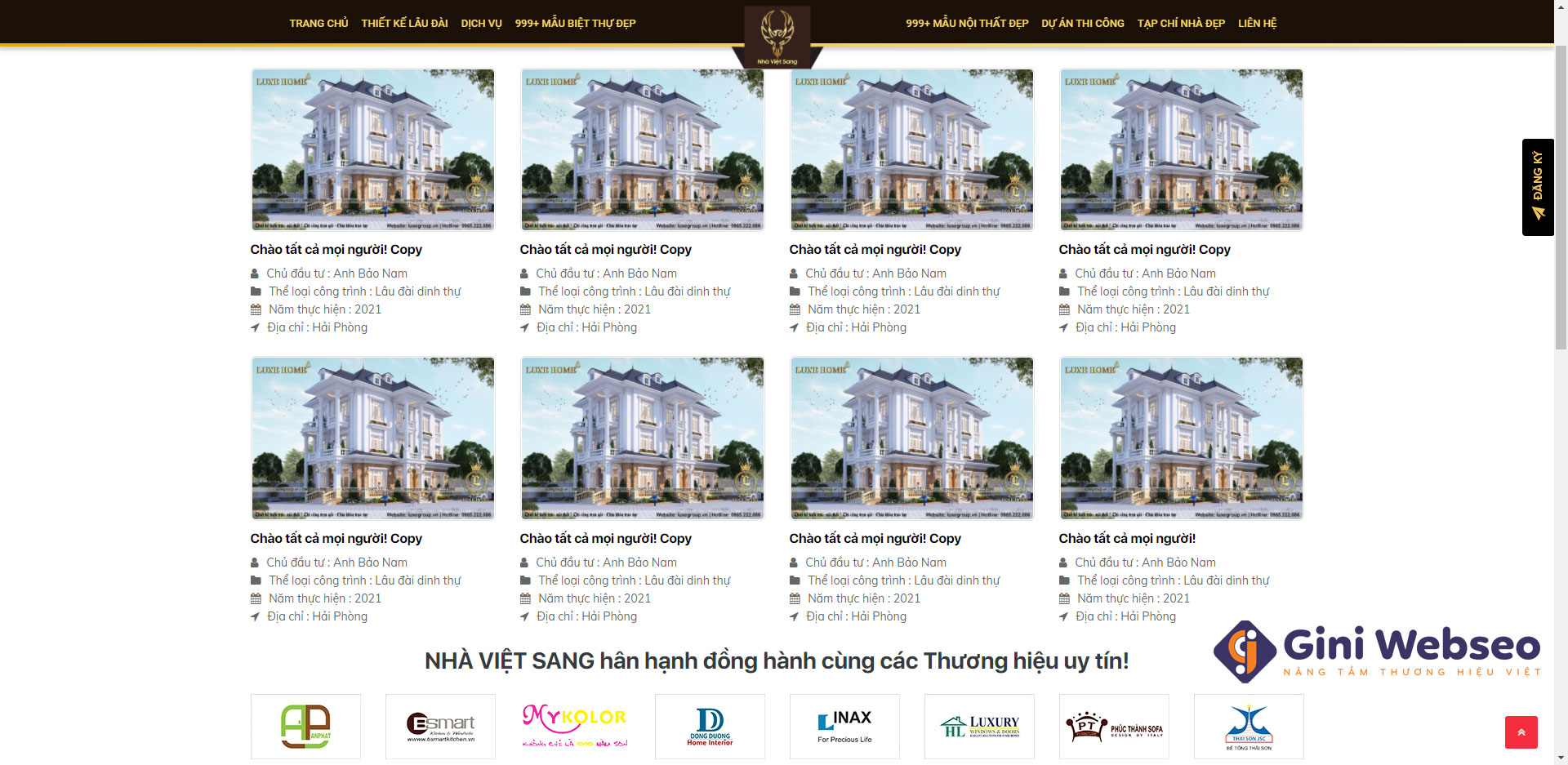 Giao diện tin tức thiết kế website bất động sản