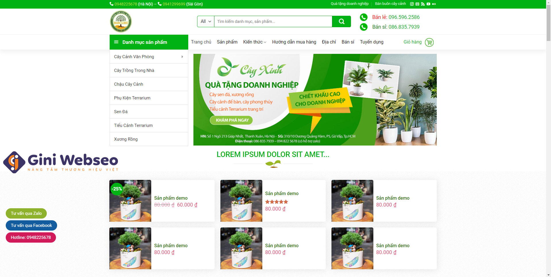 Giao diện trang chủ thiết kế website cây giống