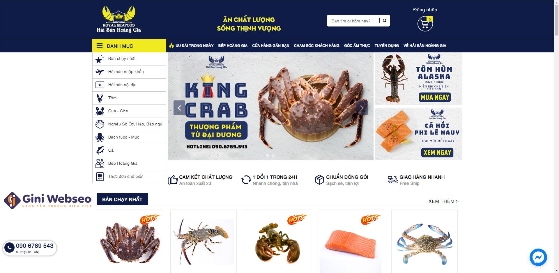 Giao diện trang chủ thiết kế website hải sản