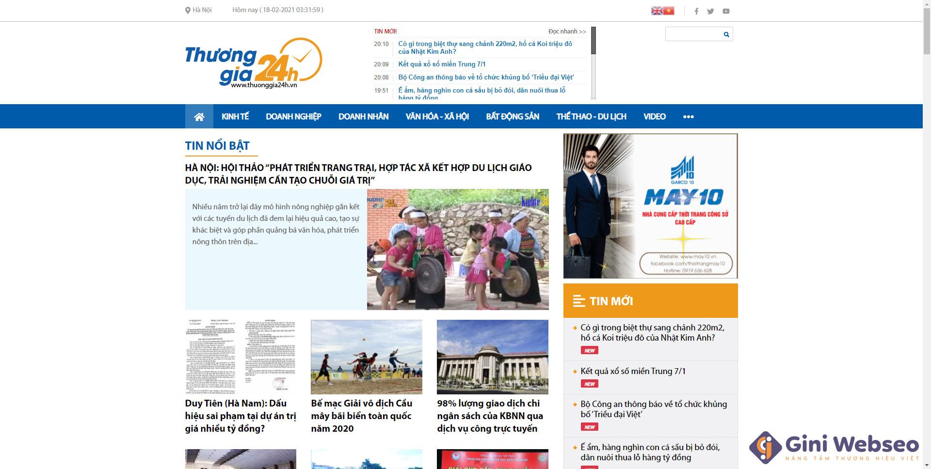 Thiết kế website tin tức Thương gia 24h