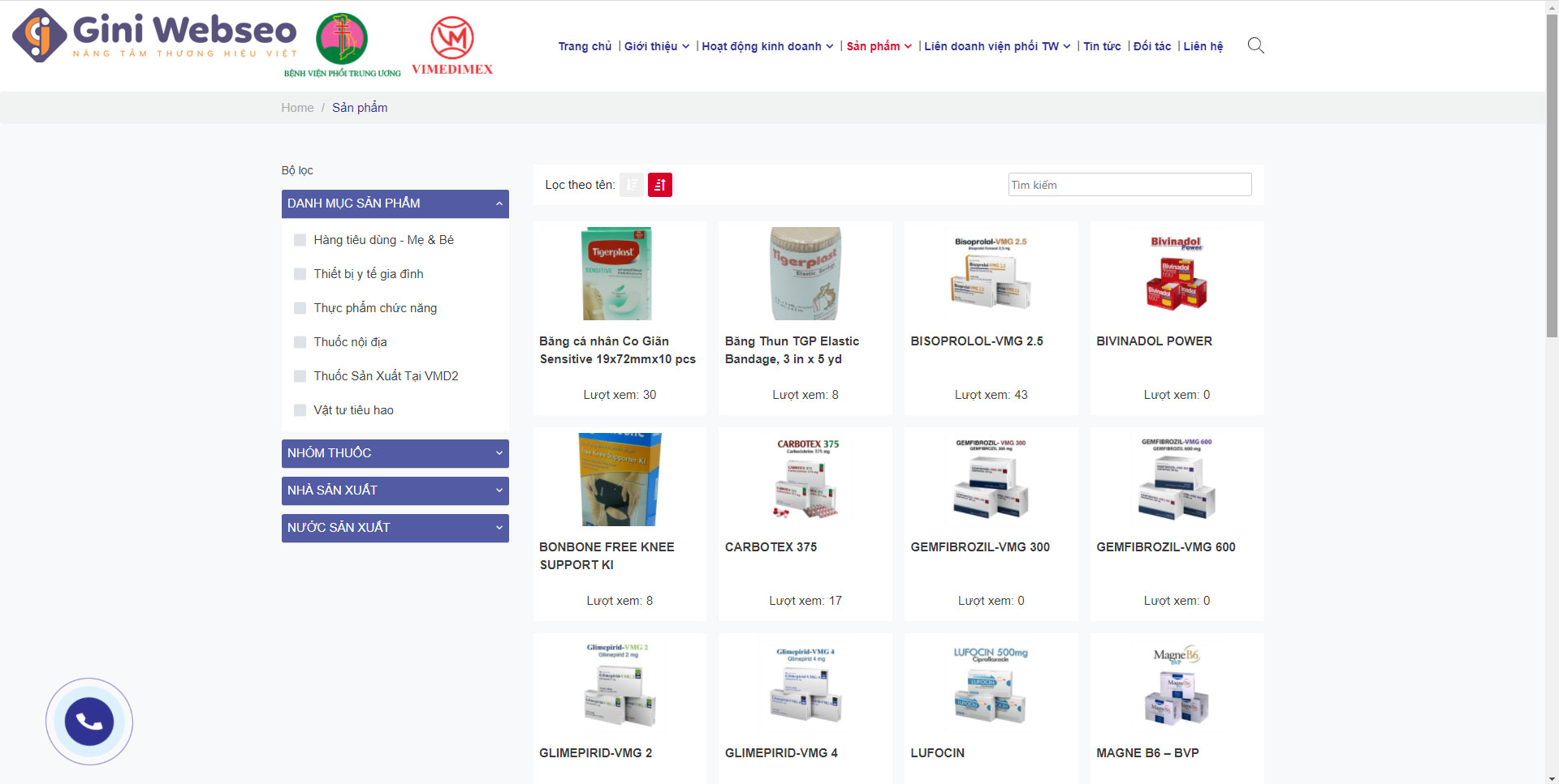 Thiết kế website bệnh viện Vietpharm