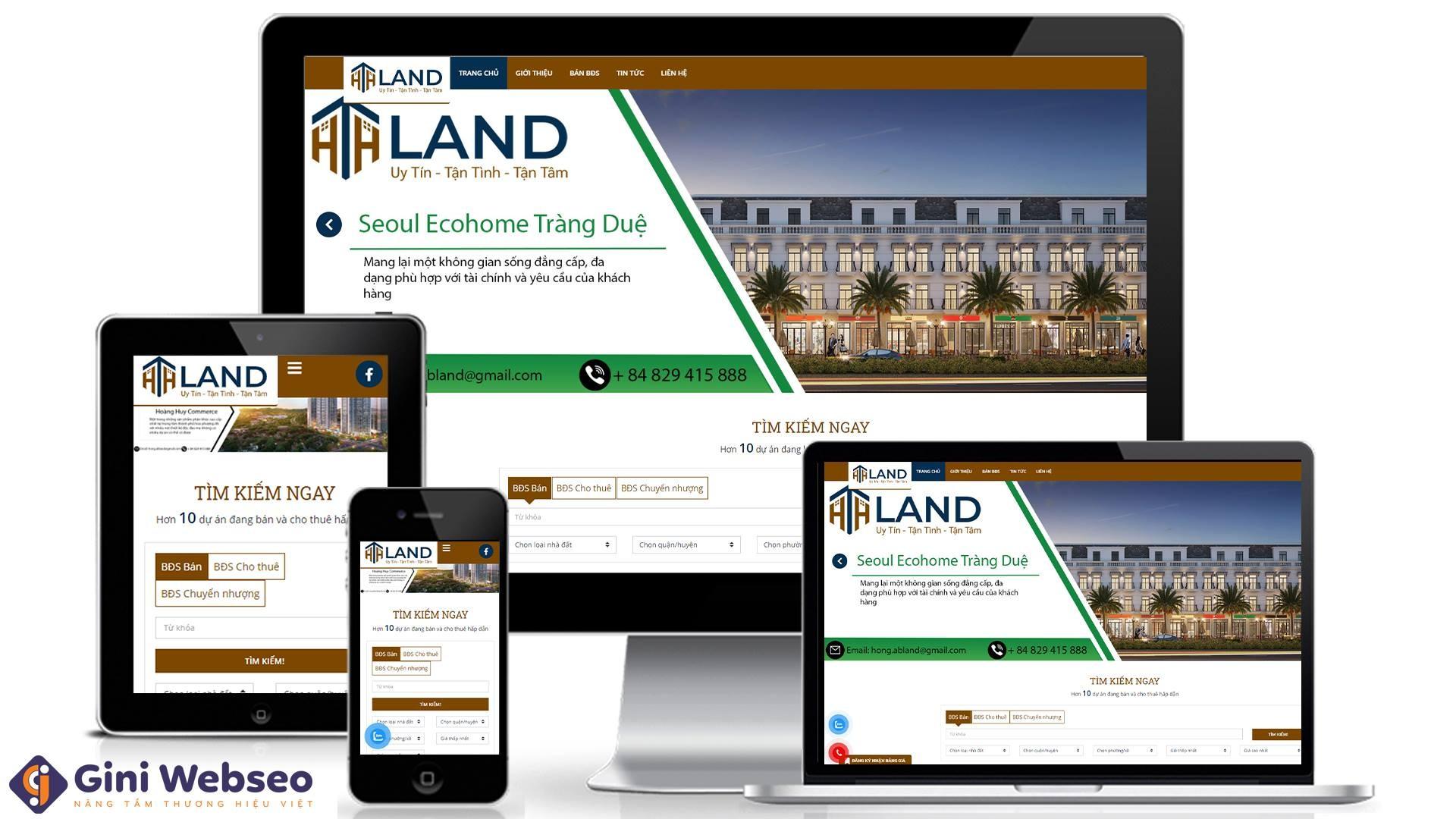 Thiết kế website bất động sản HTH Land