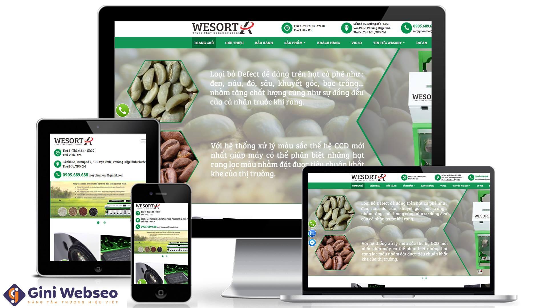 Thiết kế website máy tách màu Wesort