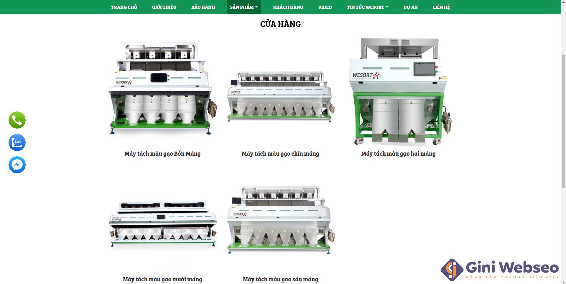 Giao diện sản phẩm thiết kế website máy tách màu