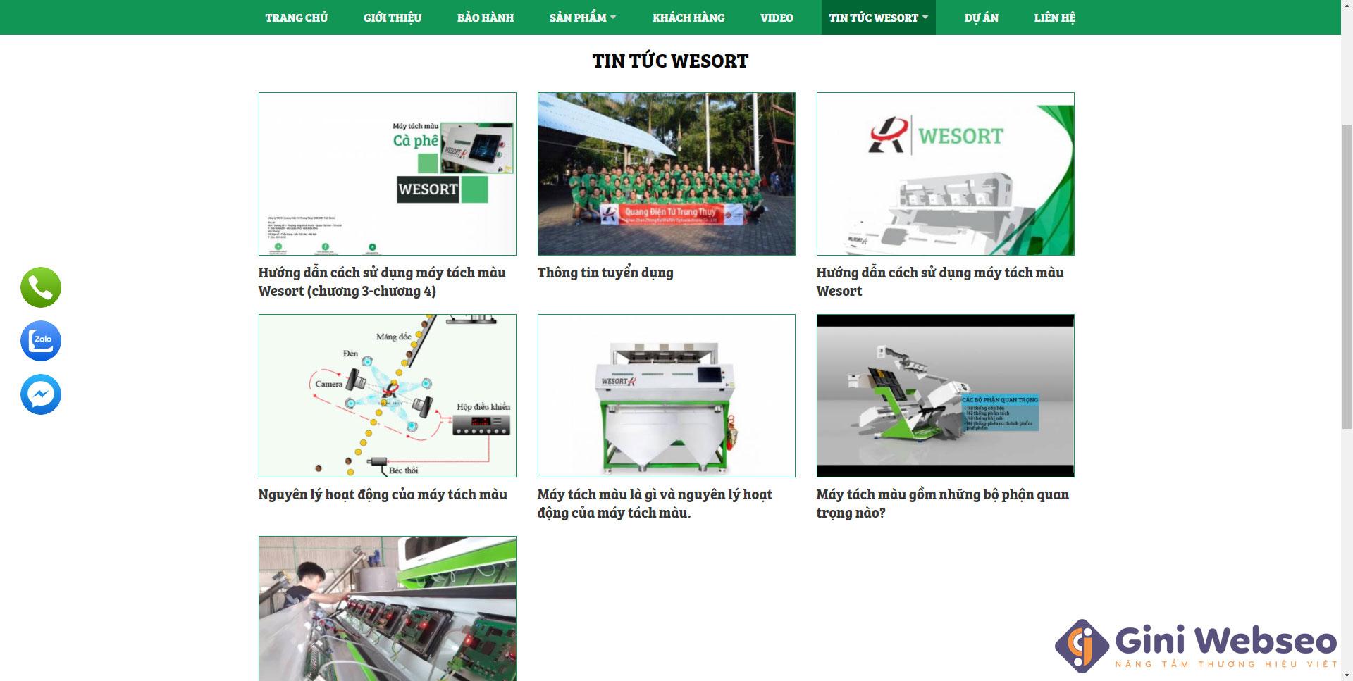 Giao diện tin tức thiết kế website máy tách màu