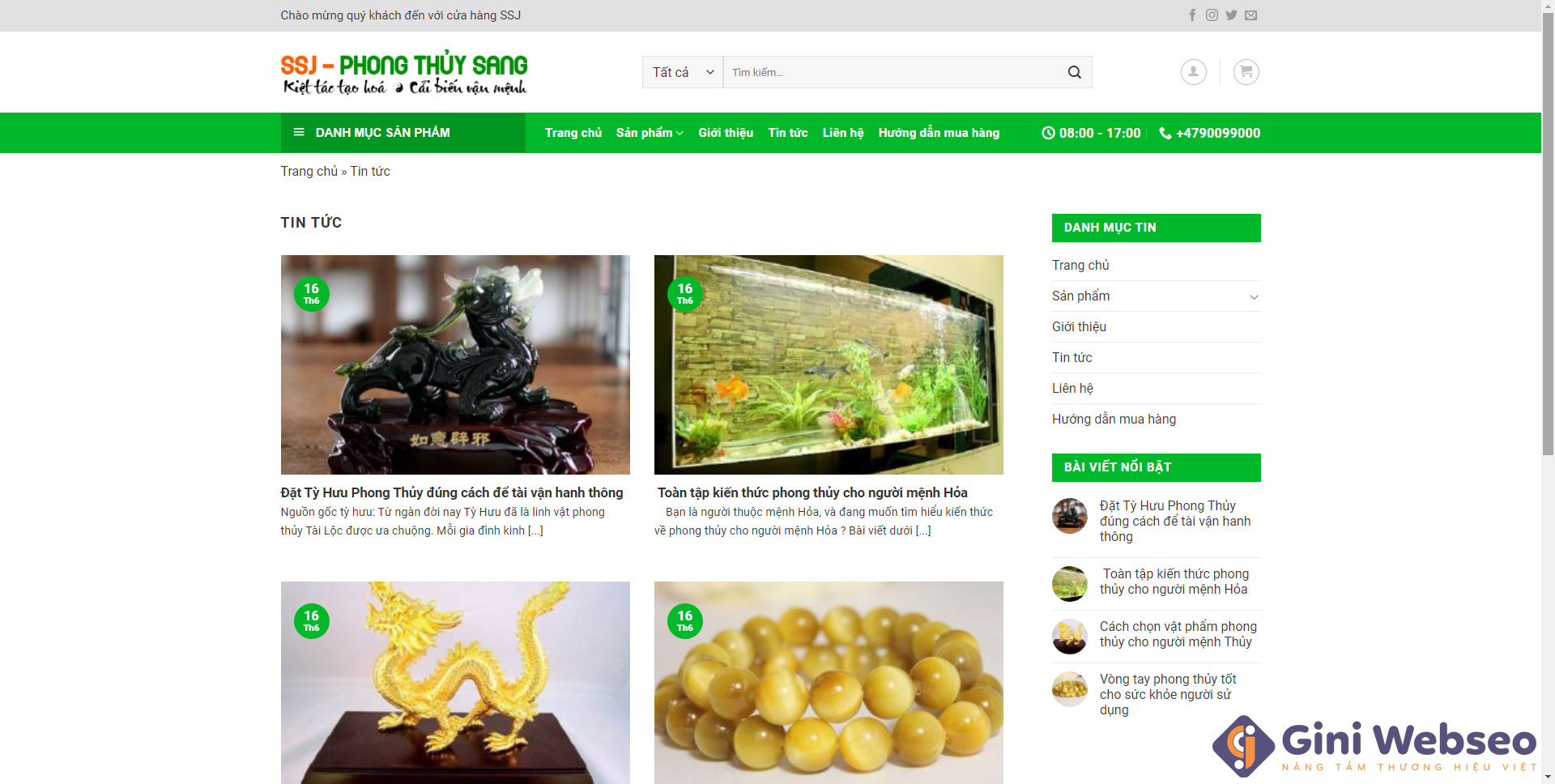 Giao diện tin tức thiết kế website trang sức phong thủy