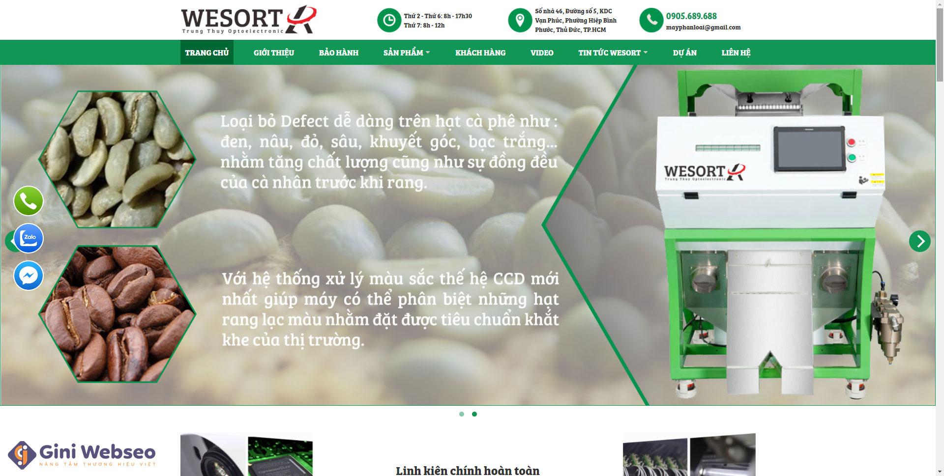 Giao diện trang chủ thiết kế website máy tách màu