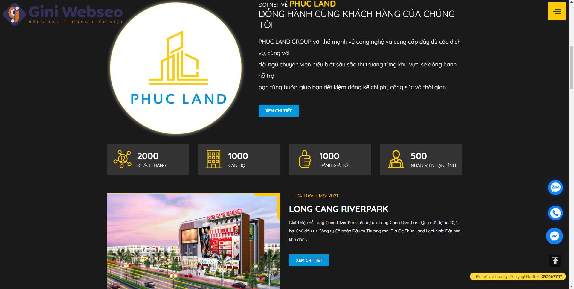 Giao diện trang chủ thiết kế website bất động sản