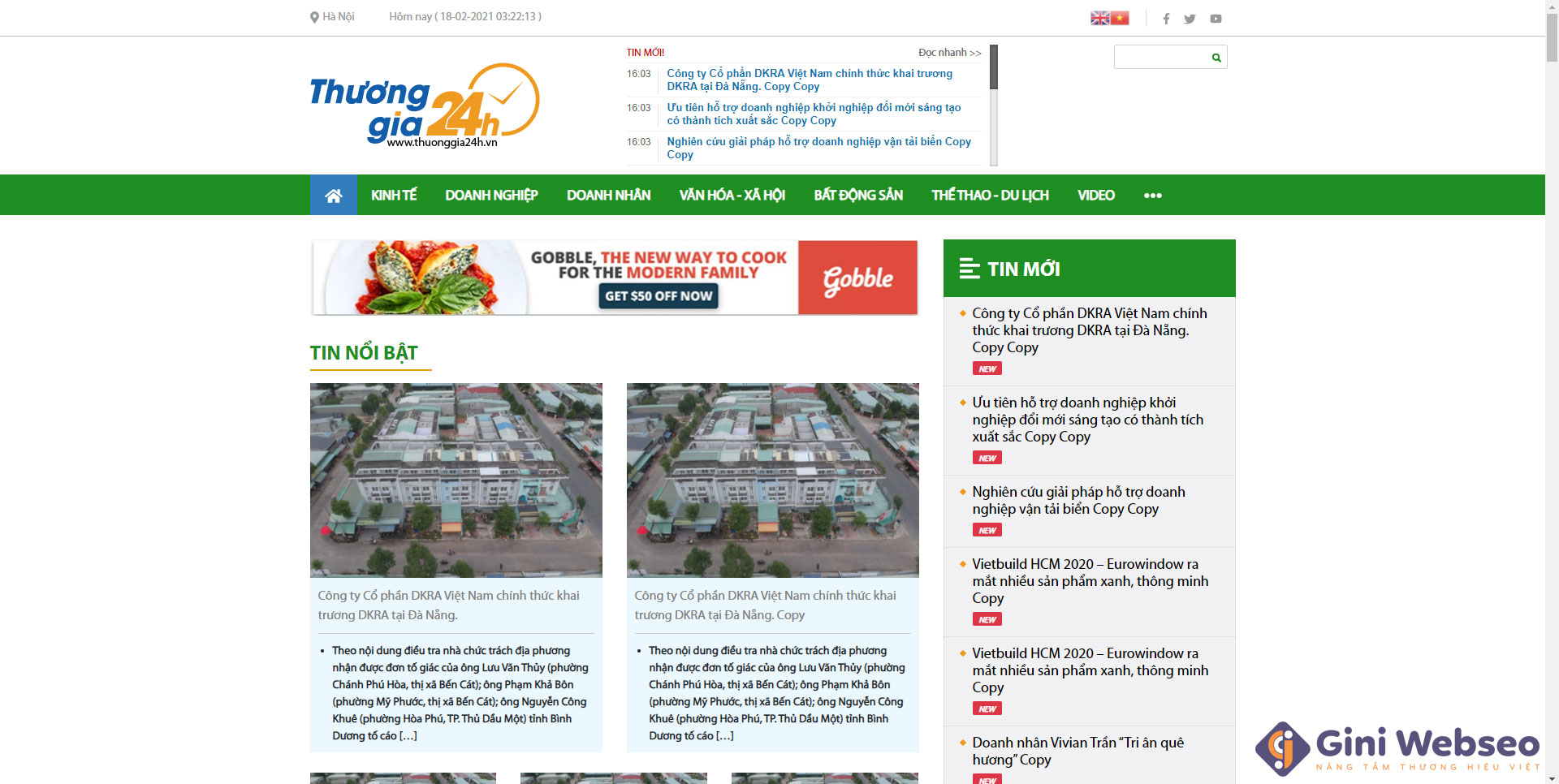 Giao diện trang chủ thiết kế website tin tức