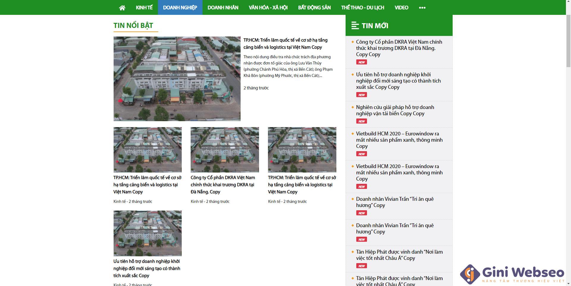 Giao diện tin doanh nghiệp thiết kế website tin tức
