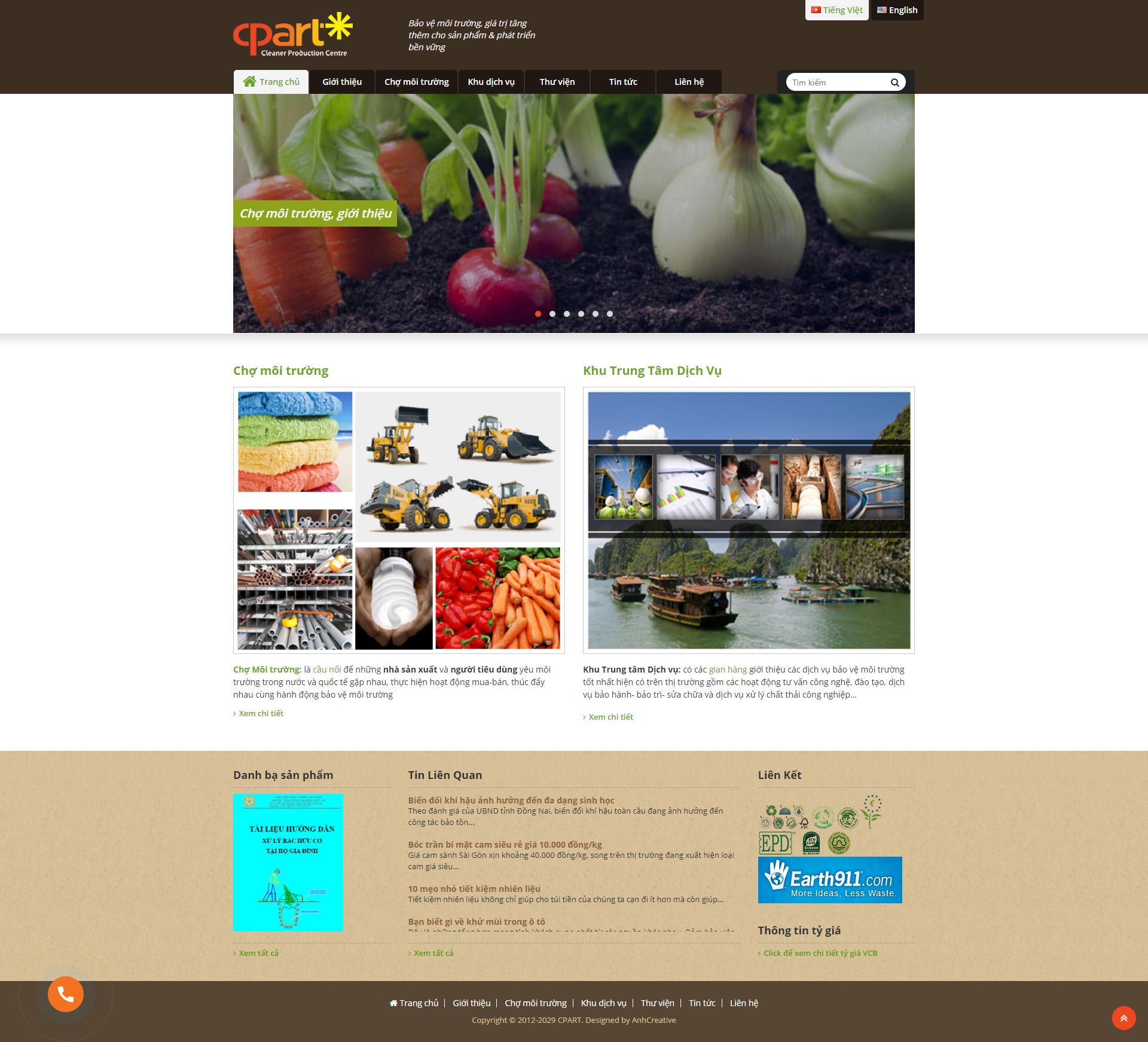 Thiết kế website sản xuất sạch Cpart