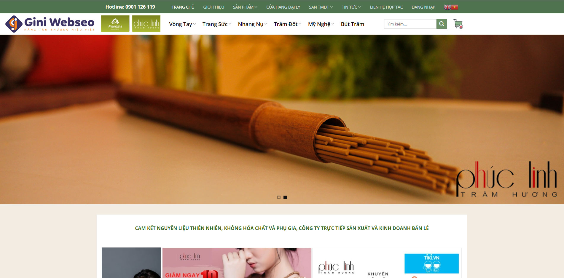Giao diện trang chủ thiết kế website trầm hương