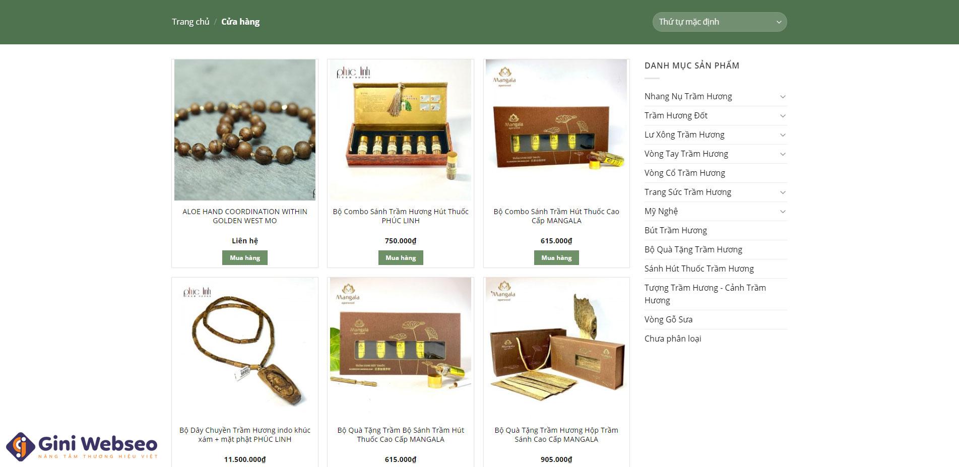 Giao diện sản phẩm thiết kế website trầm hương