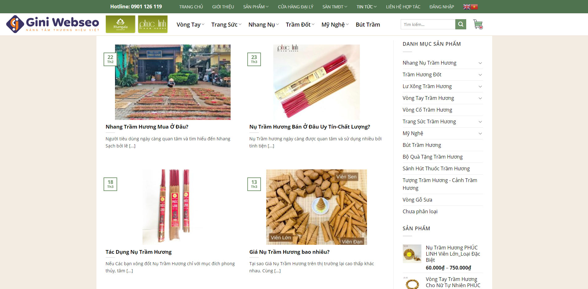 Giao diện tin tức thiết kế website trầm hương