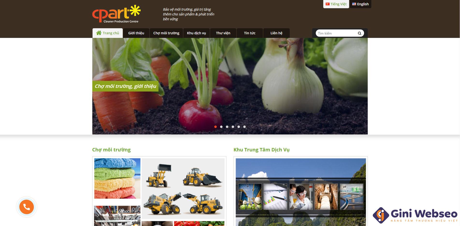 Giao diện trang chủ thiết kế website sản xuất sạch