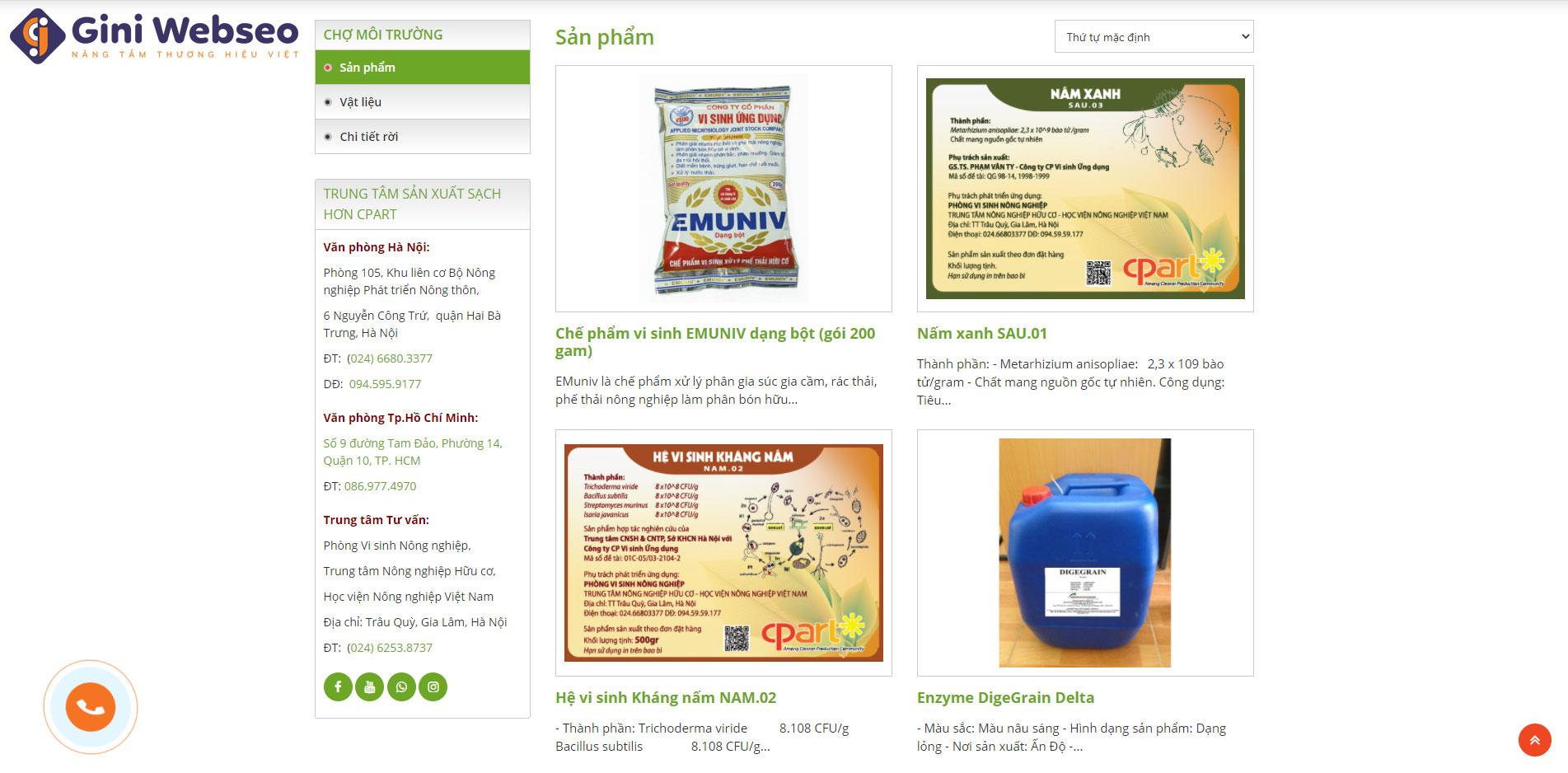 Giao diện sản phẩm thiết kế website sản xuất sạch