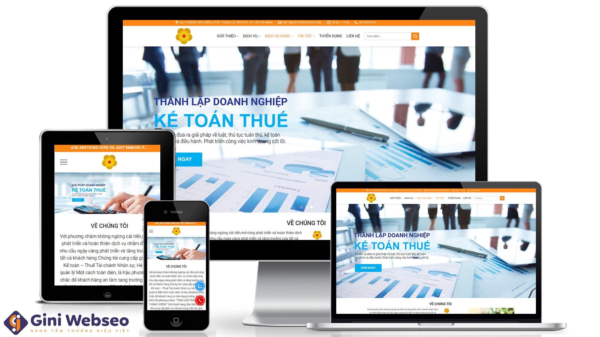 Thiết kế website kế toán thuế Dịch vụ Đại Hữu