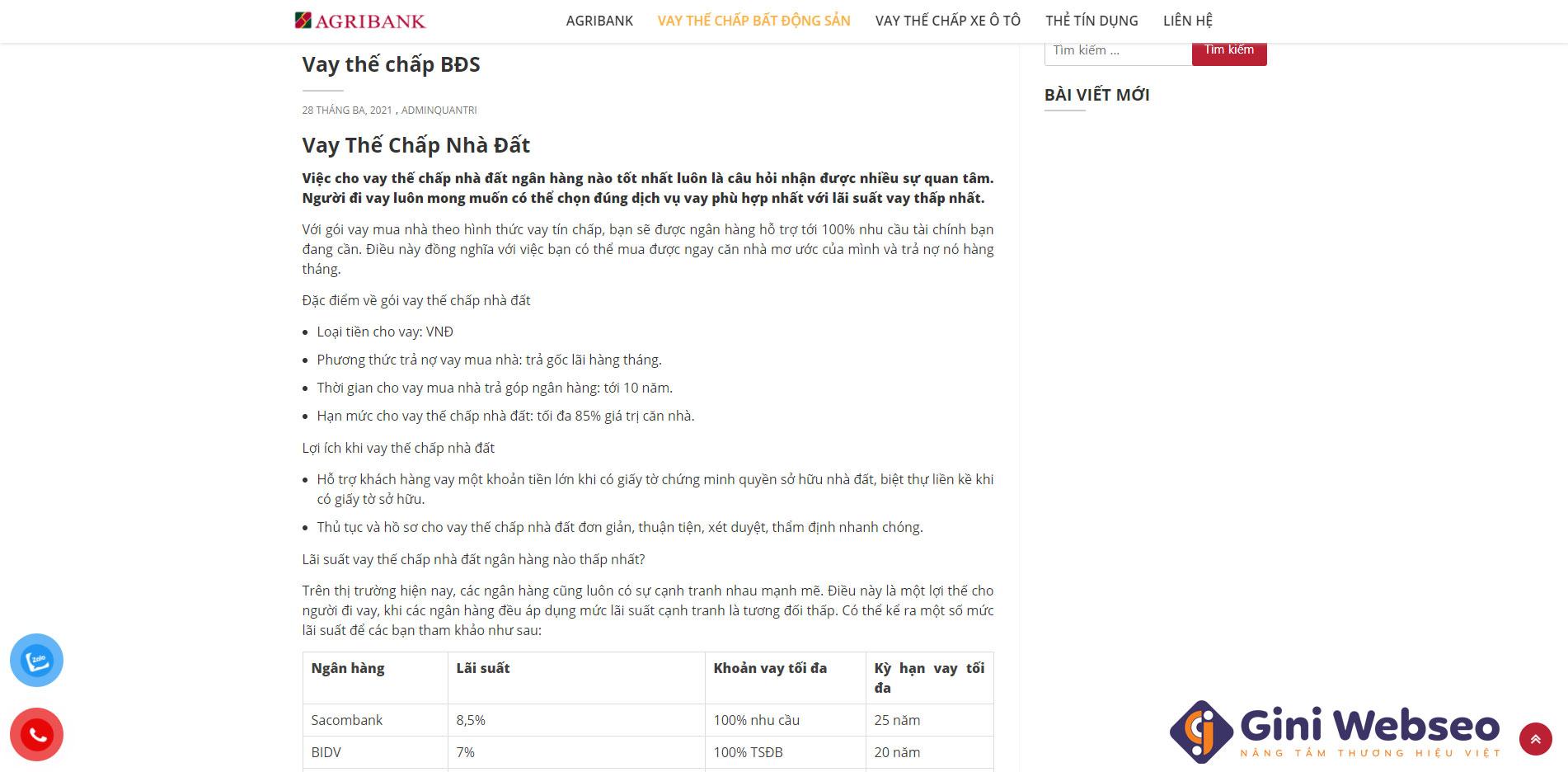 Giao diện dịch vụ thiết kế website ngân hàng - AGRIBANK
