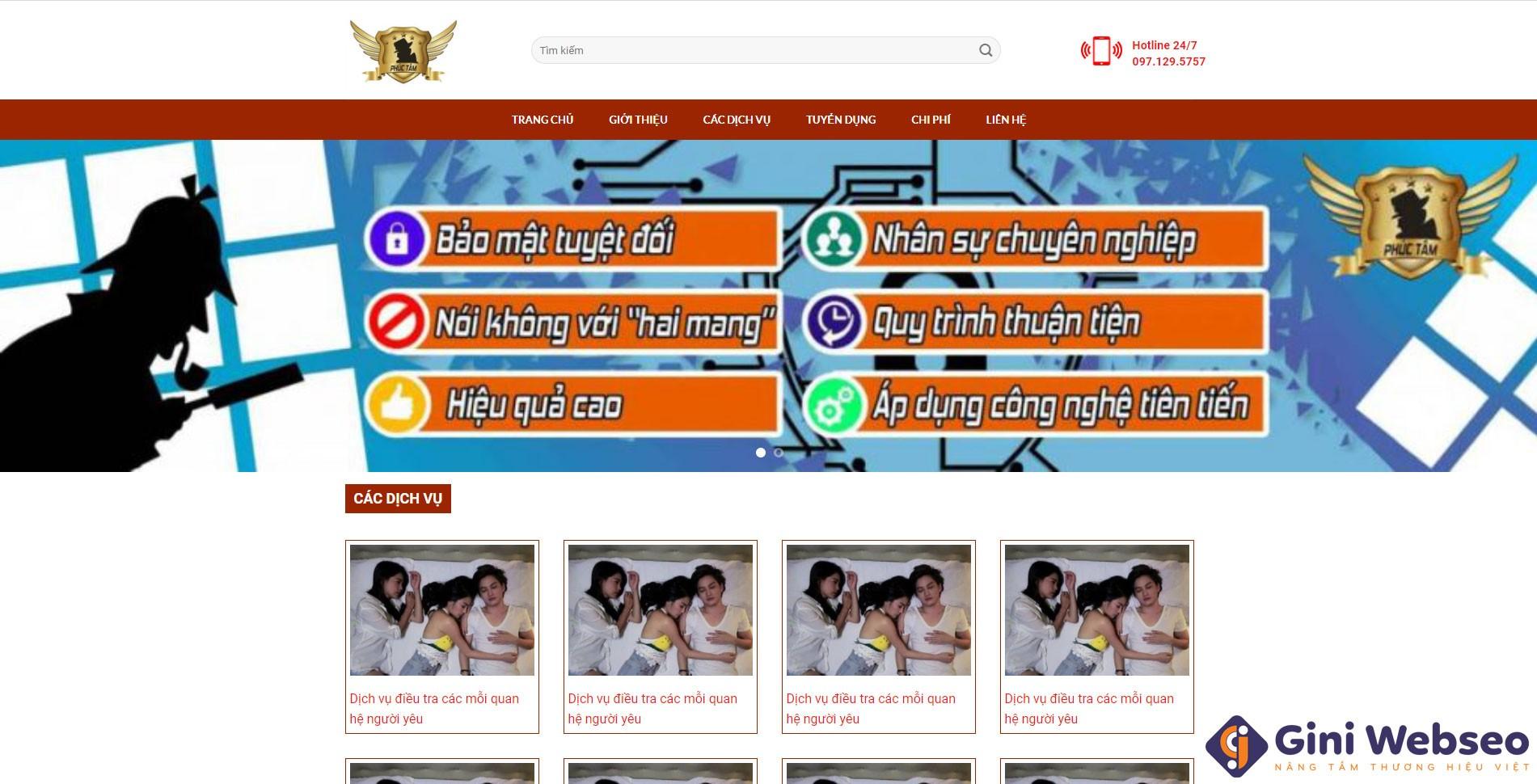 Giao diện trang chủ thiết kế website công ty thám tử