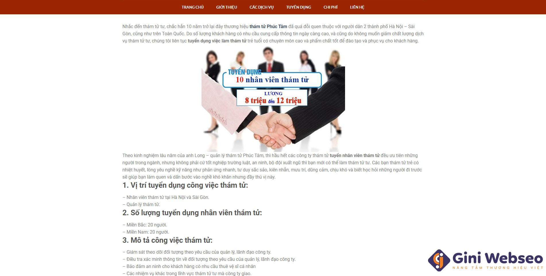 Giao diện blog thiết kế website công ty thám tử