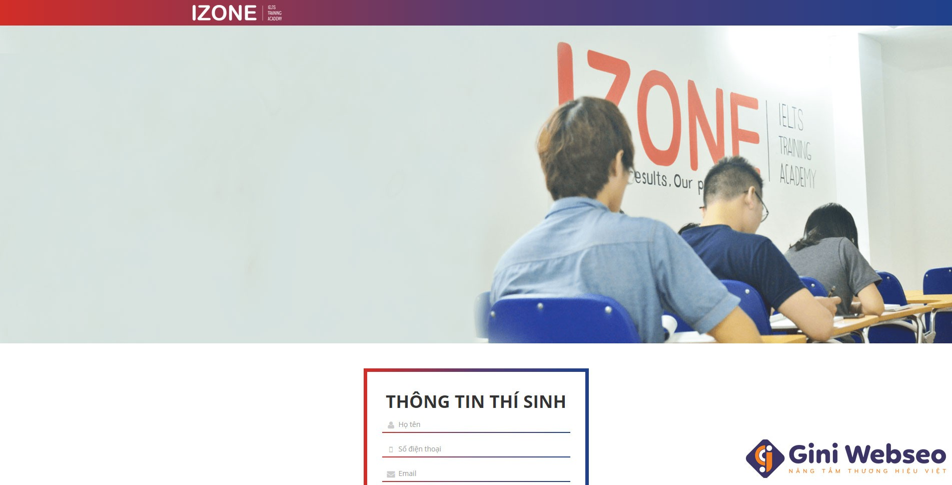Thiết kế website trung tâm tiếng Anh IZONE