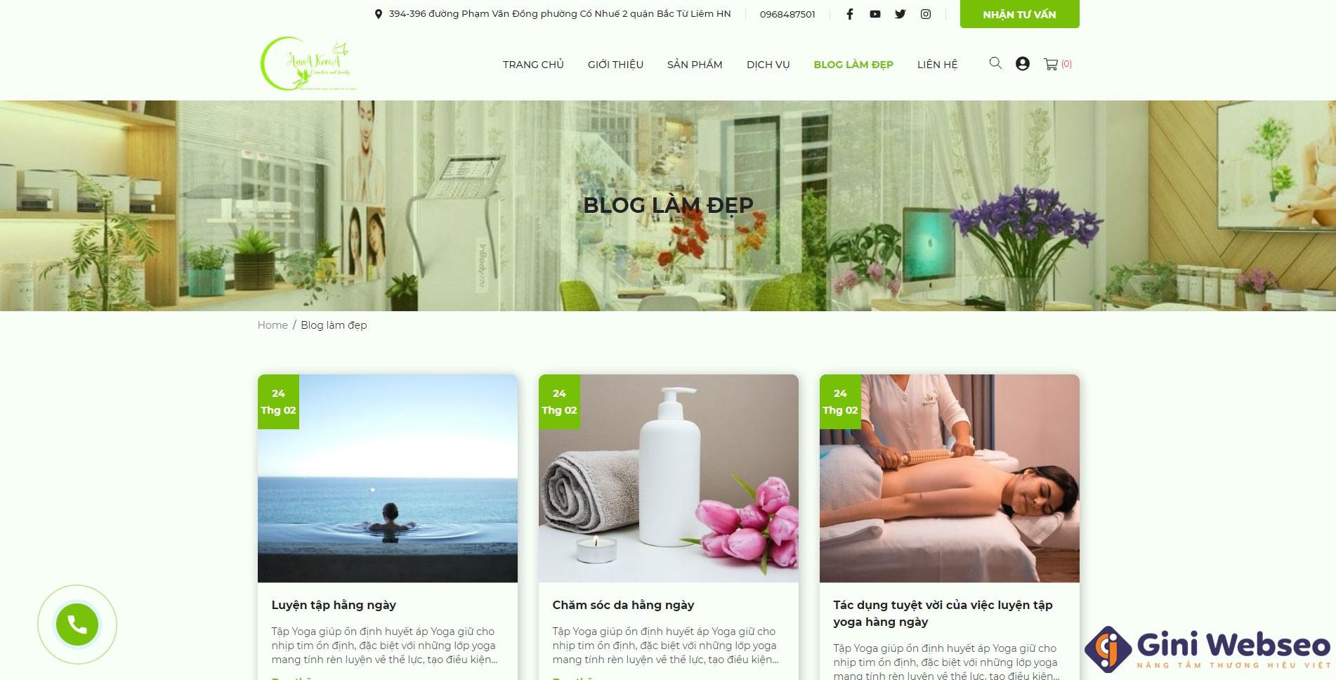 Giao diện trang chủ thiết kế website spa