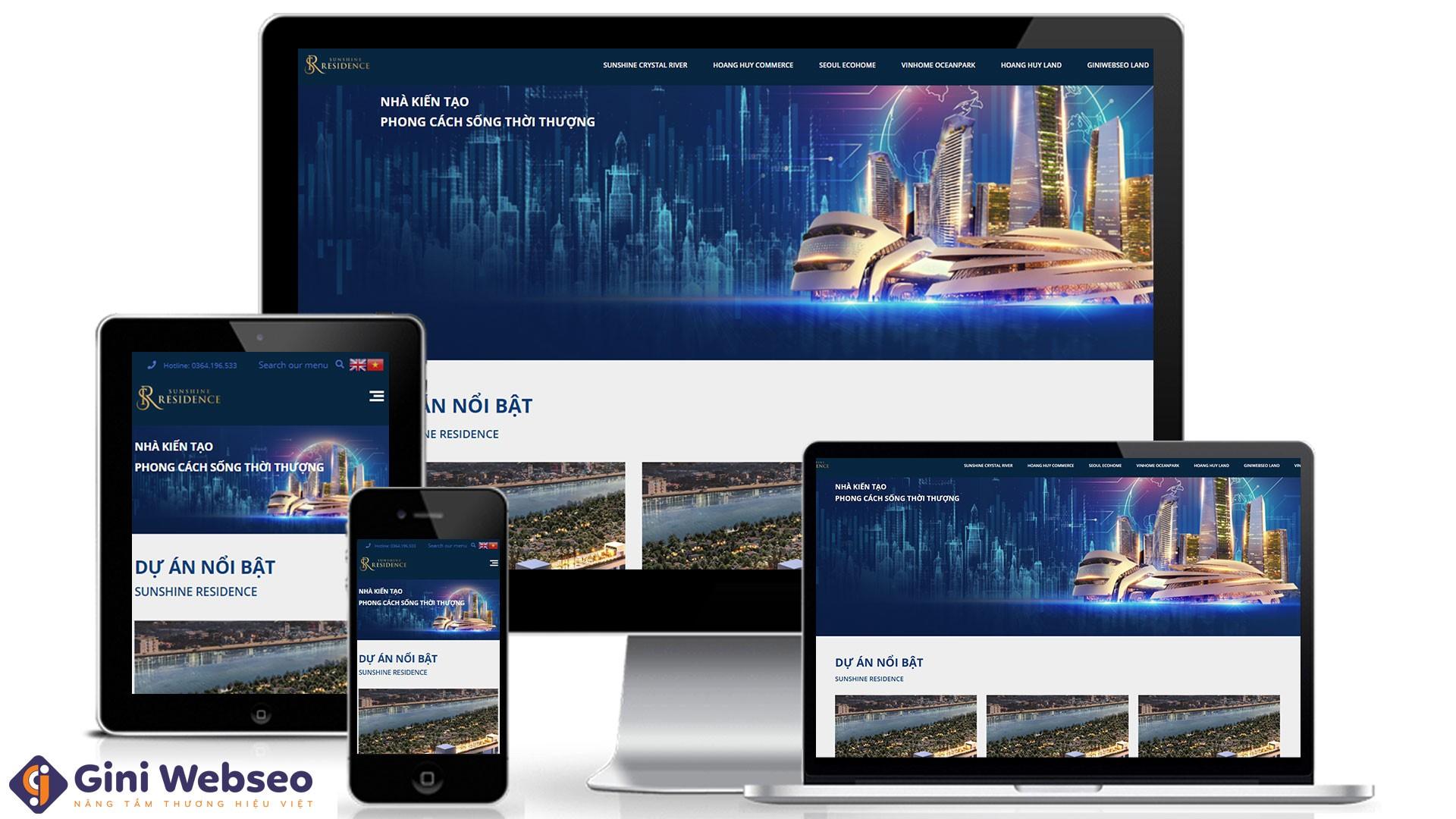 Thiết kế website bất động sản Sunshine Residence