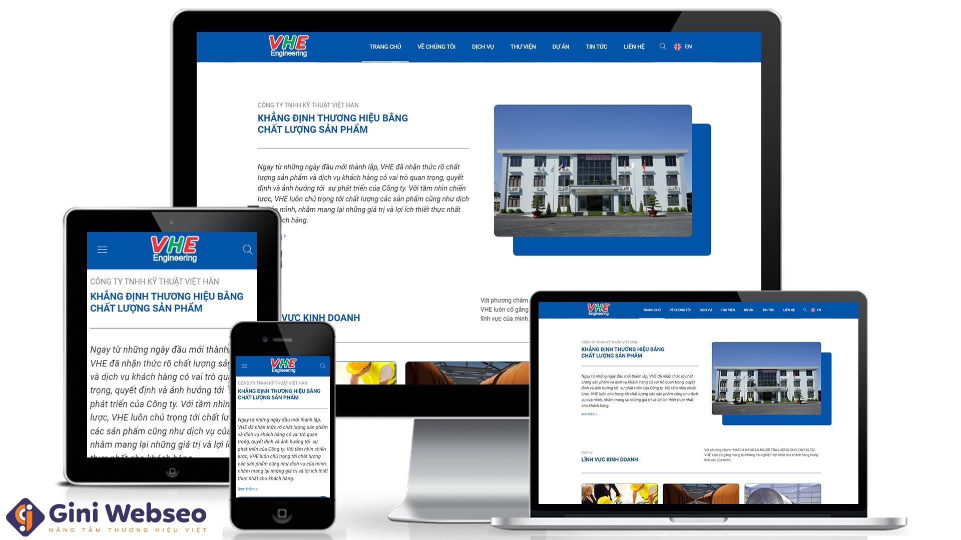 Thiết kế website công ty kỹ thuật VHE