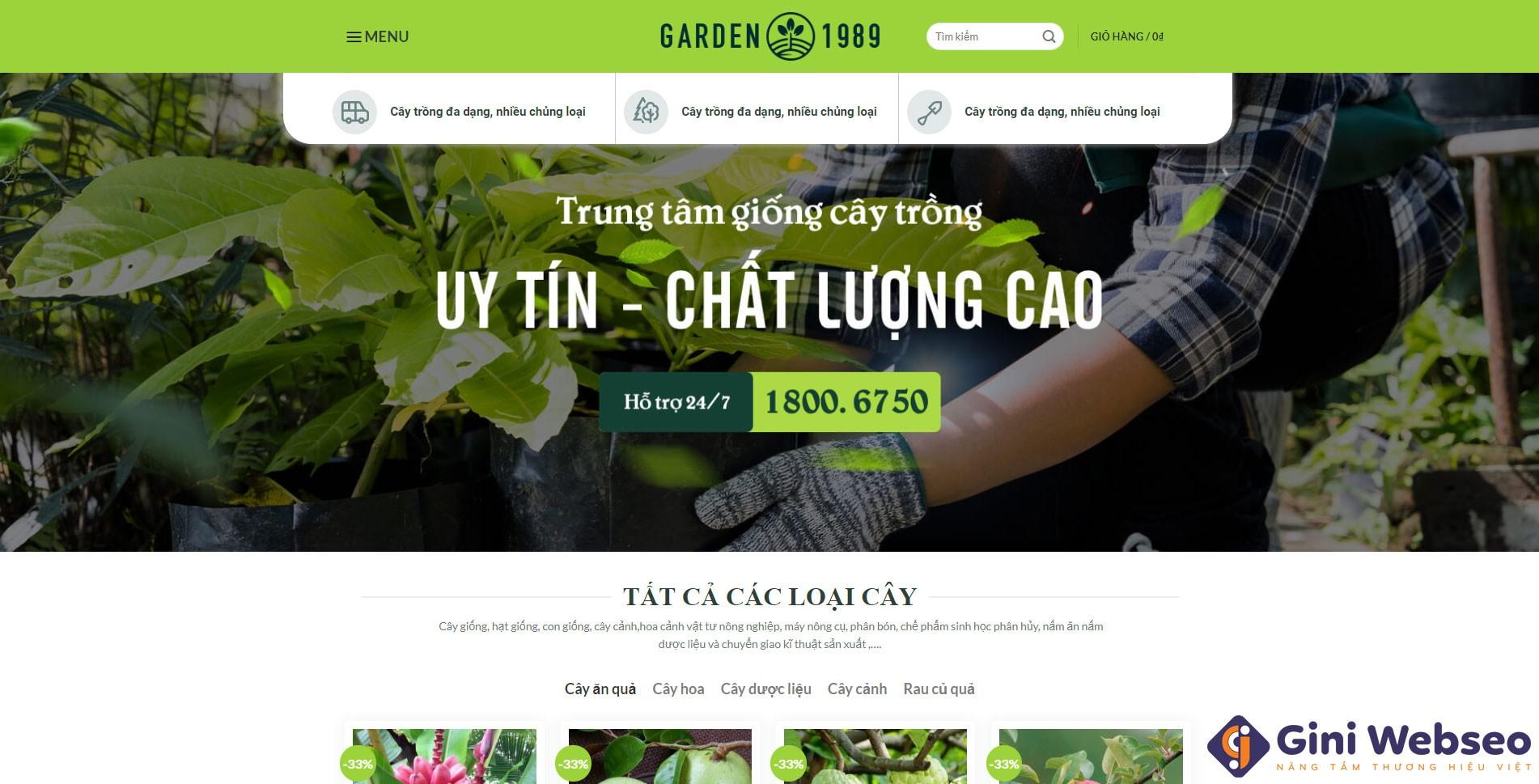 Thiết kế website cây giống Garden 1989